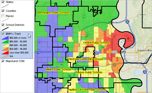 map of wealth in districts omaha